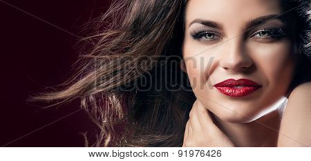 Portrait Of Sexy Brunette Lady.
