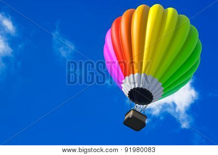 Colorful Hot Air Balloon In Flight