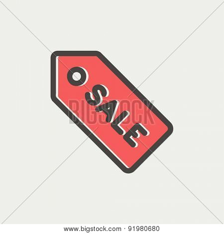 Sale tag icon thin line for web and mobile, modern minimalistic flat design. Vector icon with dark grey outline and offset colour on light grey background.