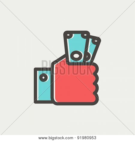 Money in hand icon thin line for web and mobile, modern minimalistic flat design. Vector icon with dark grey outline and offset colour on light grey background.