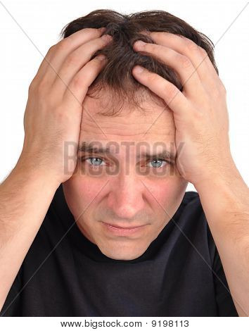 Worried Man with Stress Closeup