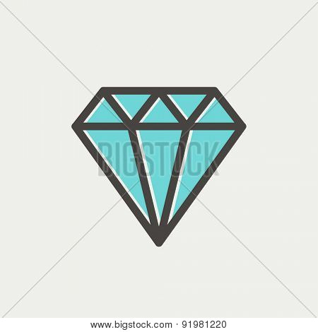 Diamond icon thin line for web and mobile, modern minimalistic flat design. Vector icon with dark grey outline and offset colour on light grey background.