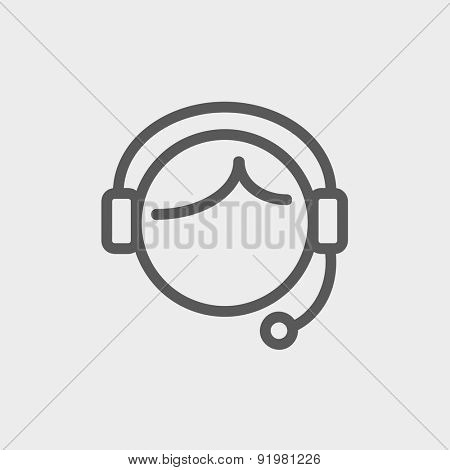 Customer service icon thin line for web and mobile, modern minimalistic flat design. Vector dark grey icon on light grey background.
