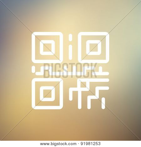 QR code icon thin line for web and mobile, modern minimalistic flat design. Vector white icon on gradient mesh background.