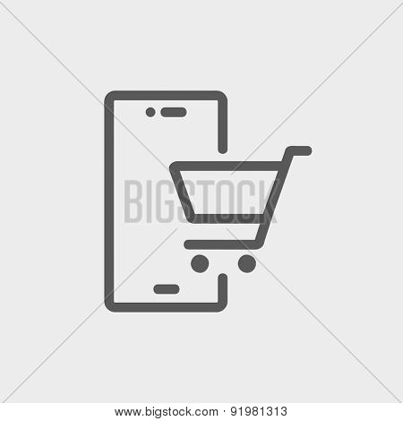 Shopping cart signboard icon thin line for web and mobile, modern minimalistic flat design. Vector dark grey icon on light grey background.