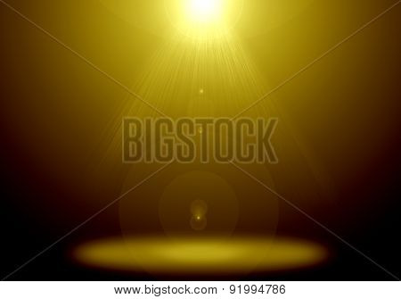 Abstract image of gold lighting flare on the floor stage.