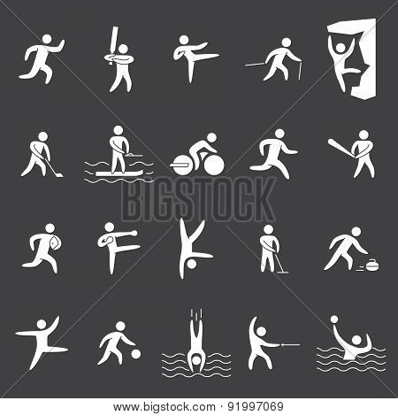 White silhouette figures of athletes popular sports