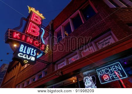 City Neon Lights On Beale Street in Memphis