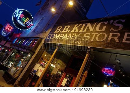Stores and Neon Lights On Beale Street