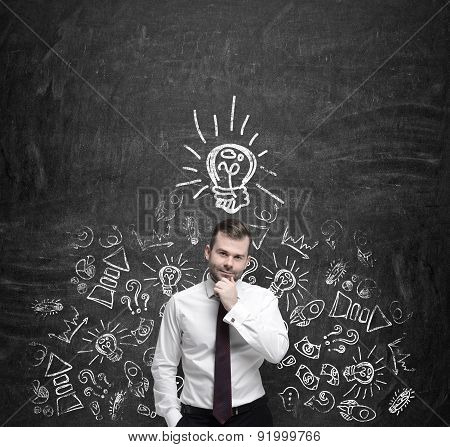 Young Manager Is Thinking About New Business Ideas. Business Icons And An Yellow Light Bulb Are Draw