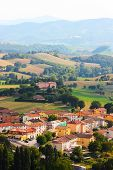 Small ancient town Cigillo taken in the Apennines mountains in Italy in summer poster