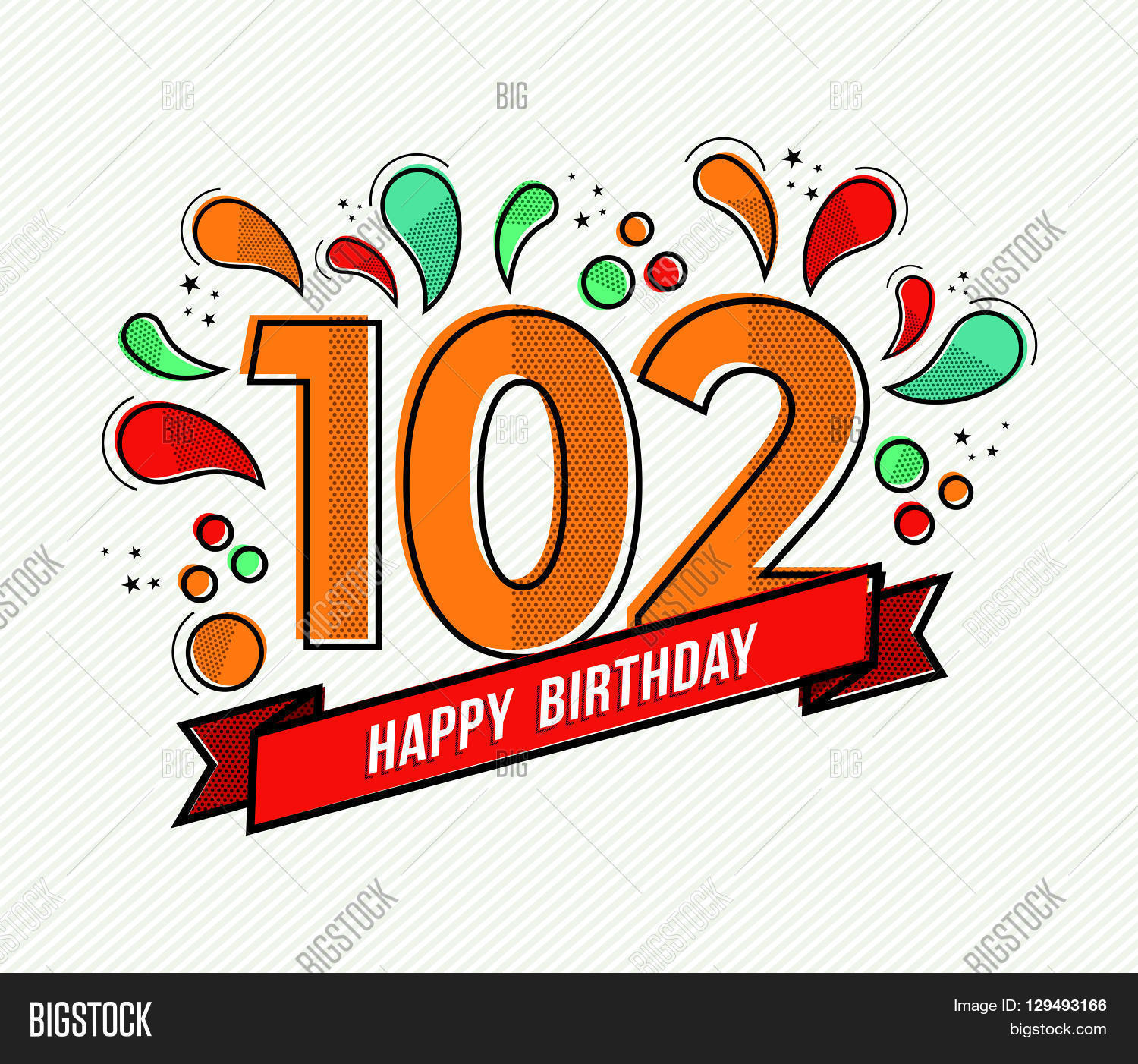 Color Happy Birthday Number 102 Flat Line Design