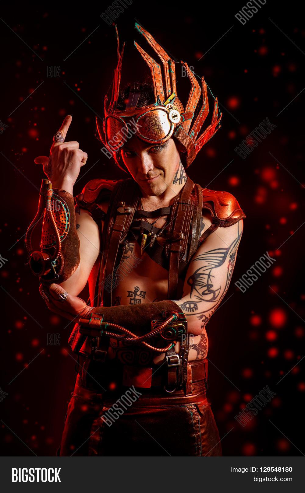 Fire Steampunk Man Image Photo Free Trial Bigstock