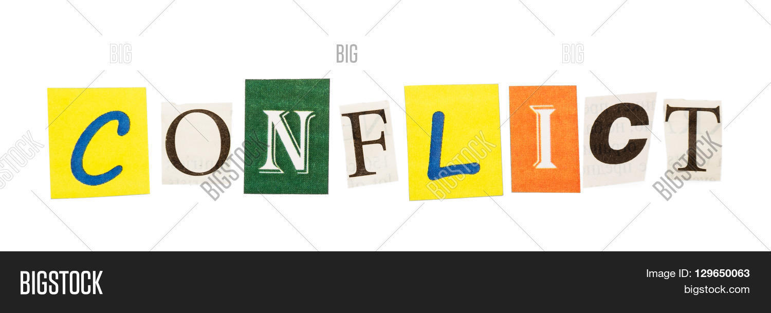 Word conflict made image photo free trial bigstock the word conflict made up of letters cut out newspaper on a white background spiritdancerdesigns Gallery