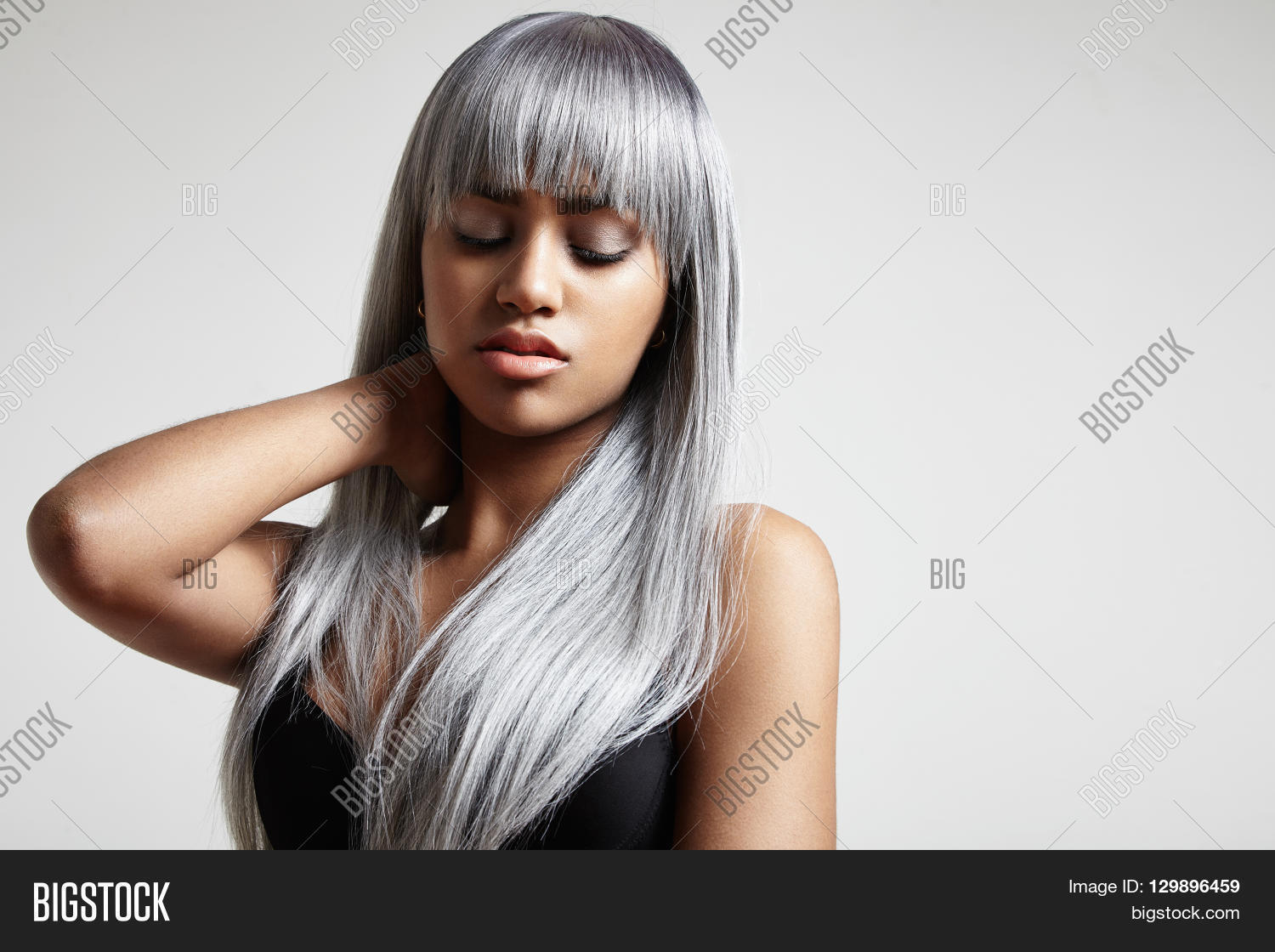 Woman Long Grey Hair Image Photo Free Trial Bigstock