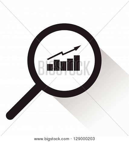 vector magnifying glass with Graph icon on white background