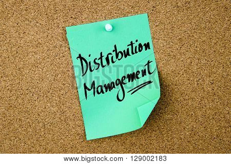 Distribution Management Written On Green Paper Note