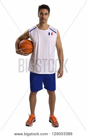 Professional French Basketball Player With Ball.