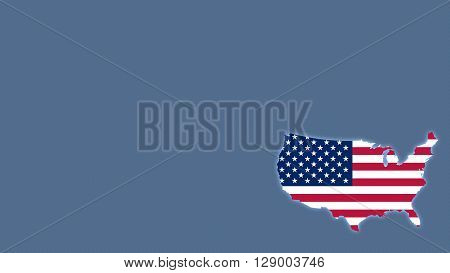 USA map with flag style wallpaper background shining