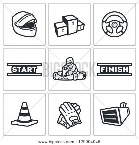 Vector Set of Karting Icons. Helmet, Pedestal, Steering wheel, Start, Kart, Driver, Finish, Delimiter, Gloves, Screen.