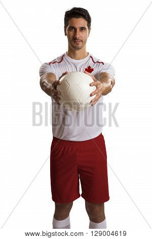 Canadian futebol soccer in a white background