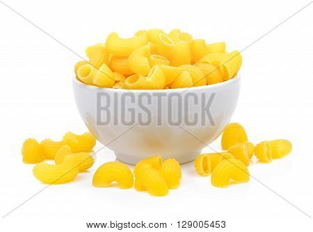 A dry macaroni in the white bowl