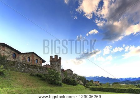 Panoramic view of the Medieval village of Ricetto di Candelo in Piedmont used as a refuge in times of attack during the Middle Age.