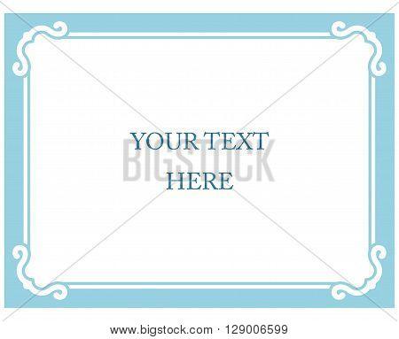 Simple Blue Vector Line Border Frame Isolated Illustration