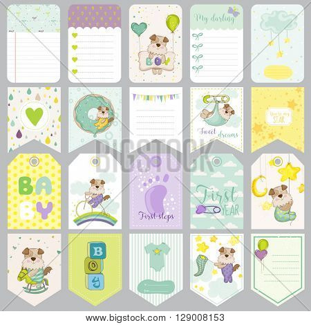 Baby Dog Tags. Baby Banners. Scrapbook Labels. Cute Cards. Vector Design Elements.