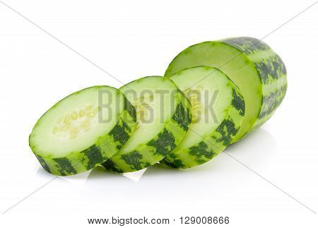 A slice striped cucumber on the white background