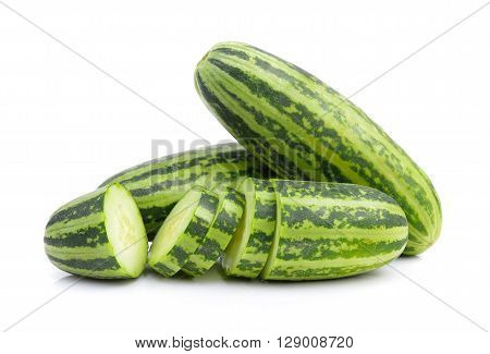 A striped cucumber are on the white background