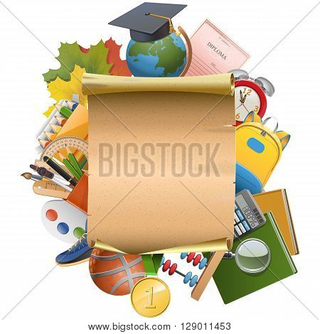 Vector Education Concept with Scroll isolated on white background