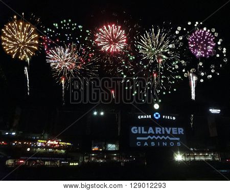 PHOENIX, ARIZONA, APRIL 29: Chase Field on April 29, 2016, in Phoenix, Arizona. The Friday night fireworks show after the ballgame at Chase Field the home of MLB's Arizona Diamondbacks.