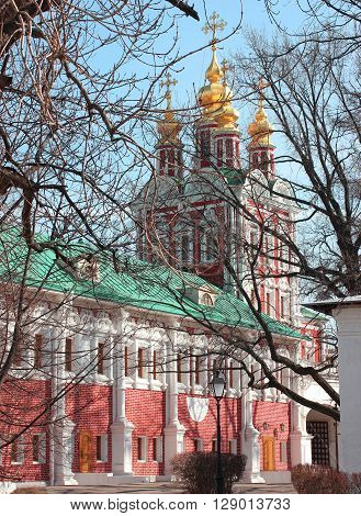 Church in Novodevichy convent in the center of Moscow