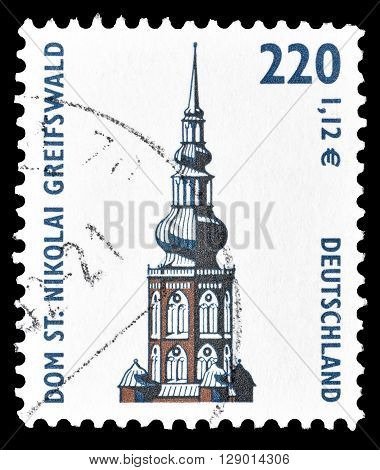 GERMANY - CIRCA 2001 : Cancelled postage stamp printed by Germany, that shows Saint Nikolai Cathedral in Greifswald.