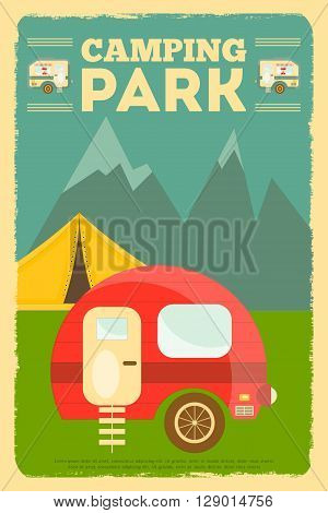 Mountain Camping with Family Trailer Caravan. Campsite Landscape with RV Traveler Truck and Tent. Outdoor Traveling Vacation. Retro Style. Vector Illustration.