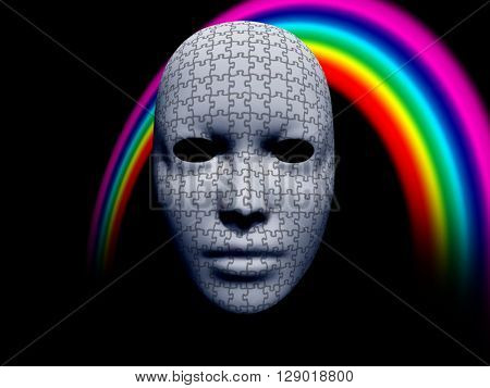 puzzle facemask with rainbow on black 3D Render