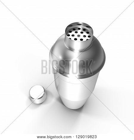 Cocktail shaker. Isolated on white background 3D illustration.