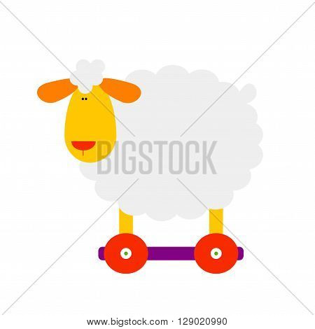 Sheep. Isolated sheep toy on white background. Cute sheep for kids. Vector flat sheep. White simple sheep. Sheep design element.