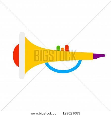 Trumpet on white background. Isolated trumpet. Colorful vector trumpet. Cute toy trumpet. Trampet for kids. Trumpet logo.