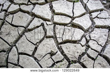 Cracked land after the withdrawal of river water.
