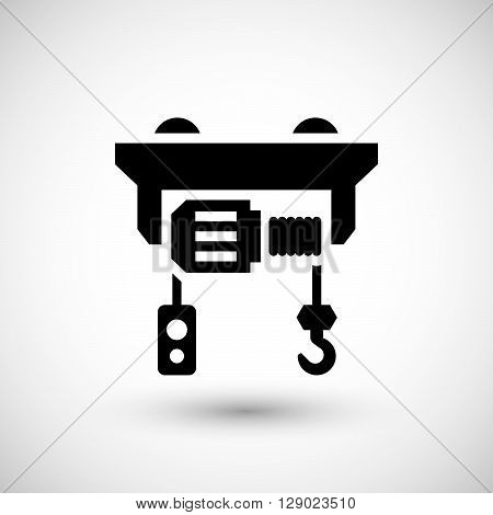 Electric hoist icon isolated on grey. Vector illustration
