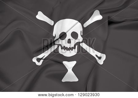 Waving Emanuel Wynn Pirate Flag, with beautiful satin background.