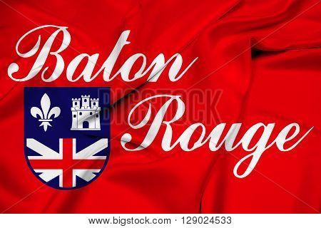 Waving Flag of Baton Rouge Louisiana, with beautiful satin background.