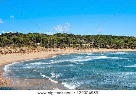 a view of the Rec del Moli beach in La Escala, in the Costa Brava, Spain