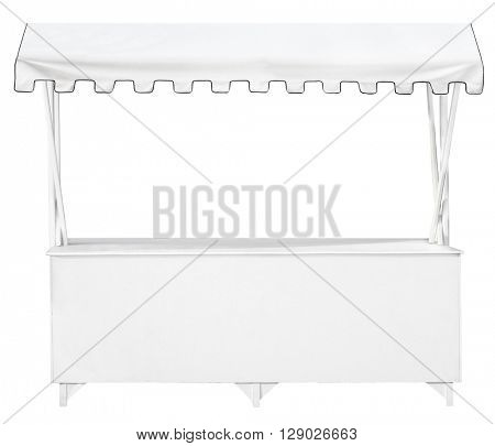 White market stall with awning