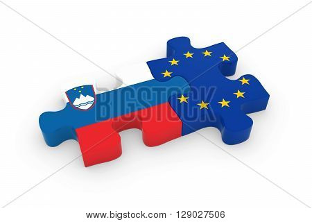 Slovenia And Eu Puzzle Pieces - Slovenian And European Flag Jigsaw 3D Illustration