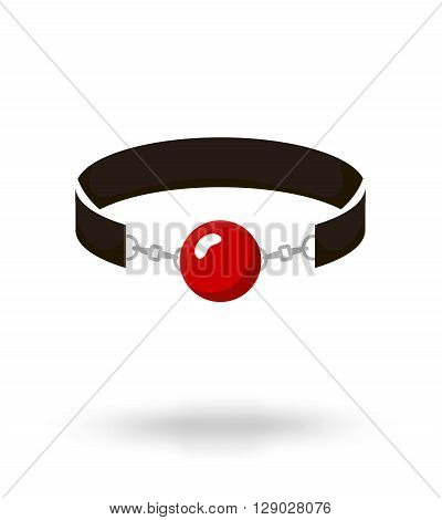 Red Silicone Ball Gag with a leather belt vector illustration
