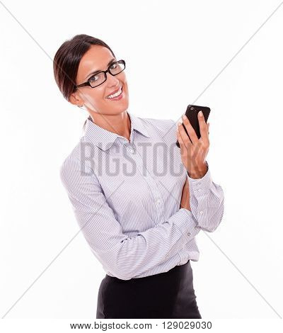 Smiling Brunette Businesswoman With Cell Phone