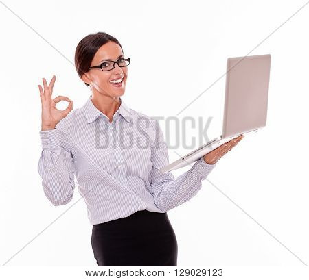 Satisfied Brunette Businesswoman With A Laptop
